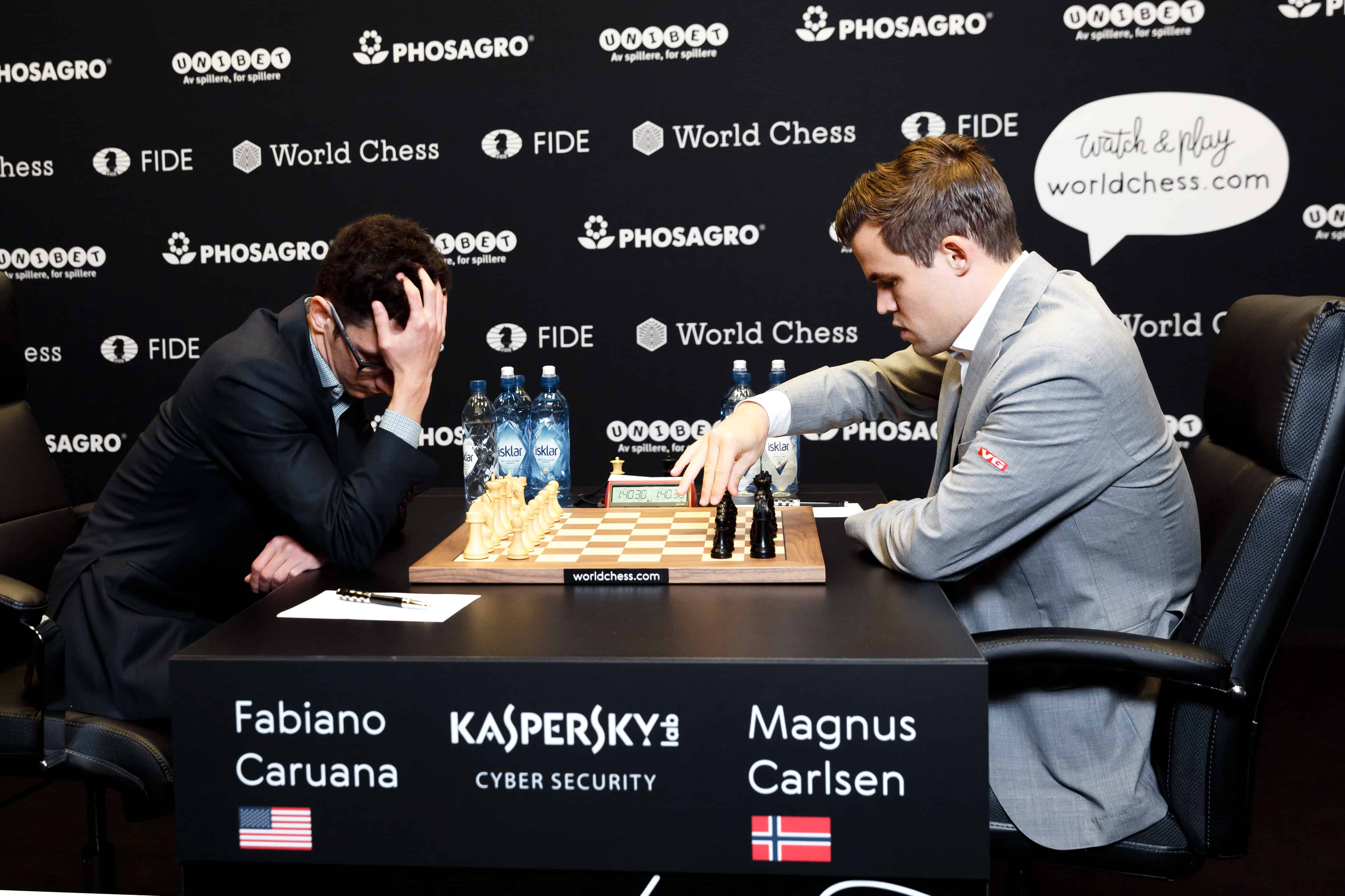 Caruana and Carlsen in Game 8