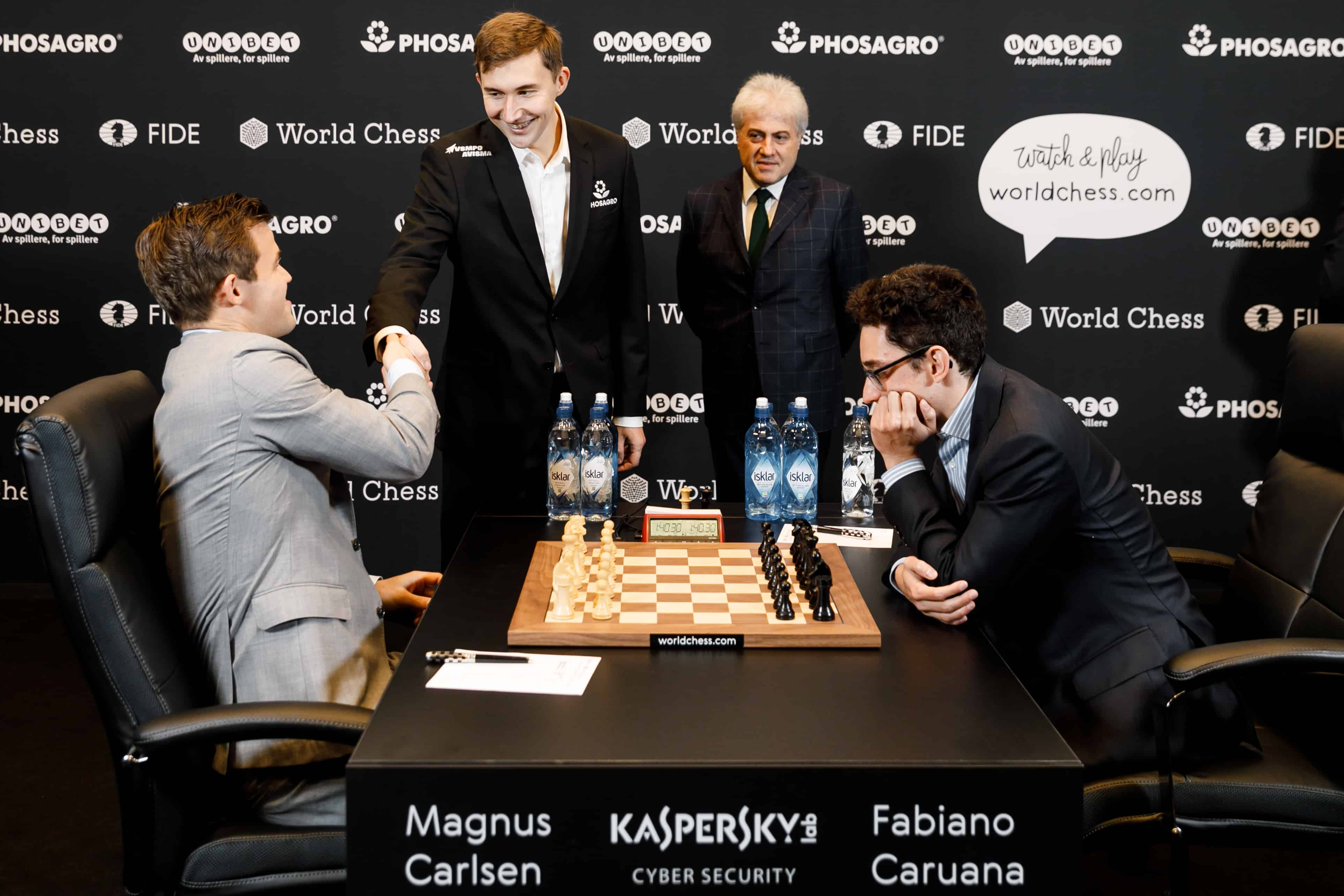 Sergey Karjakin made the ceremonial first move