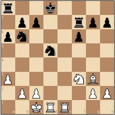 chessboard with tactical gameplay occuring