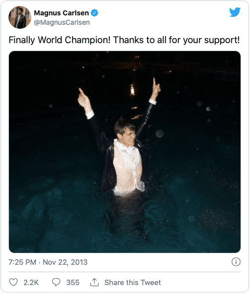 Magnus Carlsen World Champion Tweet