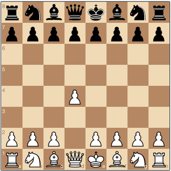 A 1.d4 opening, or queen's pawn opening to a chess game.