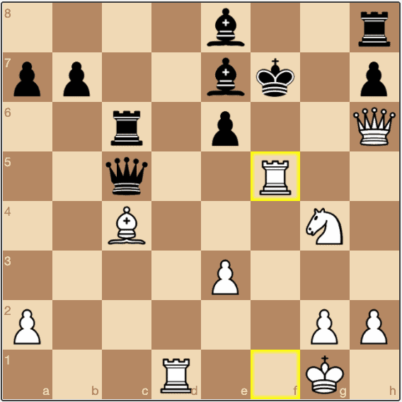 Black's queen is forced into a pin, and the game is all but lost.