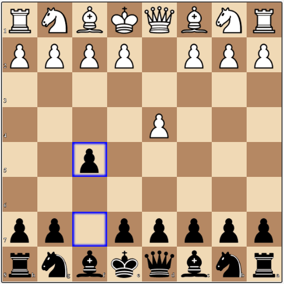 The starting position of the Dutch Defense chess opening