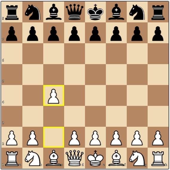 White plays the English Opening with the move 1.c4