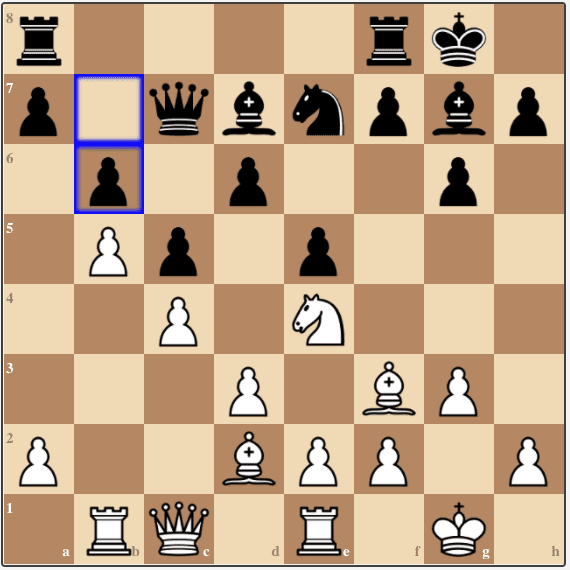 With 16...b6, Alexander prevents any further pawn advance along the b-file, but makes the game's critical mistake.