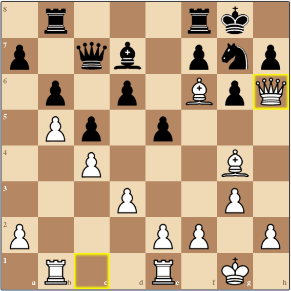 After removing the Black bishop from g7, Lasker pounces on the dark square weaknesses around Alexander's king.