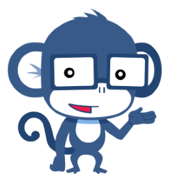 Able the Chessable mascot, a monkey with glasses
