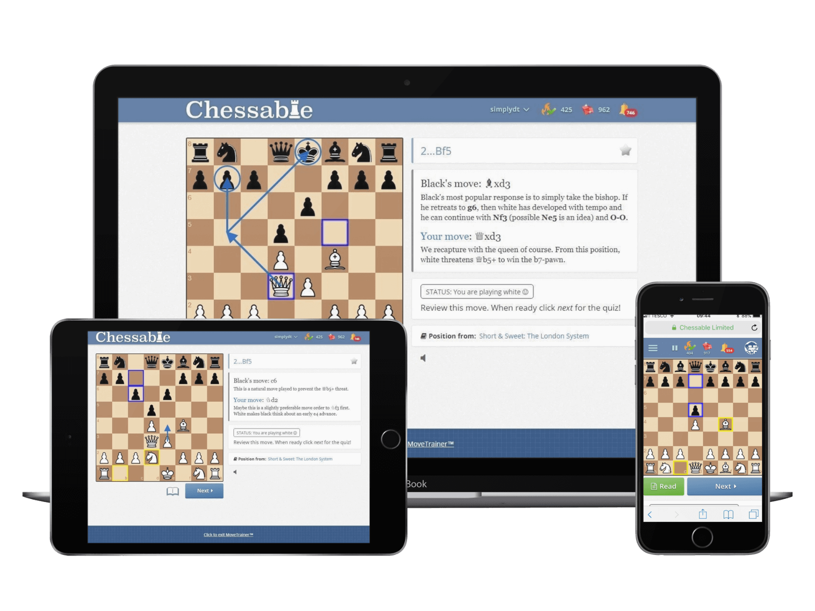 Chessable MoveTrainer on desktop, tablet and mobile